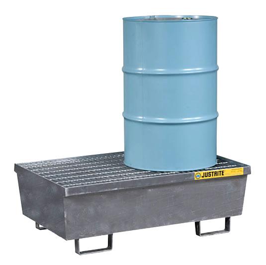 Pallets antiderrames Justrite 28611 de acero para 2 tambores - Galvanizado