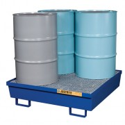 Pallets antiderrames Justrite 28614 de acero para 4 tambores - Color azul