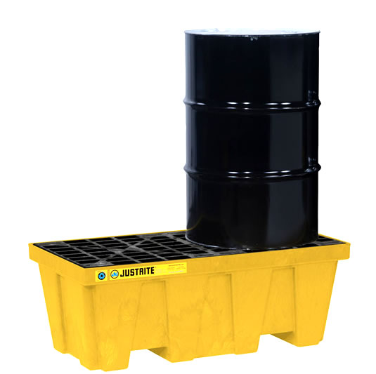 Pallets antiderrames Justrite 28622 (Ex28234) EcoPolyBlend para 2 tambores en línea sin drenaje - Color amarillo - 1245 x 635 x 457 mm
