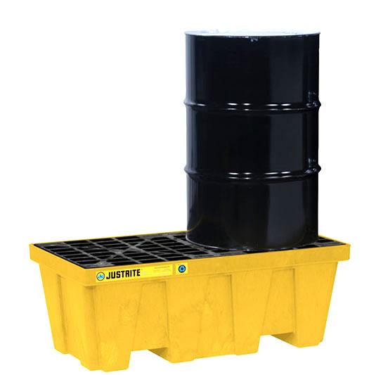 Pallets antiderrames justrite 28624 (Ex28236) EcoPolyBlend para 2 tambores en línea con drenaje - Color amarillo - 1245 x 635 x 457 mm