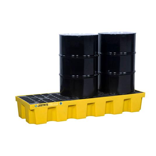 Pallets antiderrames Justrite EcoPolyBlend para 3 tambores en línea - Color amarillo - 1854 x 635 x 295 mm