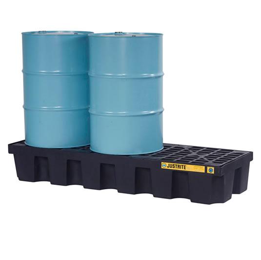 Pallets antiderrames Justrite EcoPolyBlend para 3 tambores en línea - Color negro - 1854 x 635 x 295 mm