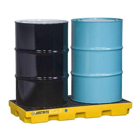 Centros de acumulación Justrite 28654 (Ex 28922) EcoPolyBlend™ para 2 tambores - Color amarillo