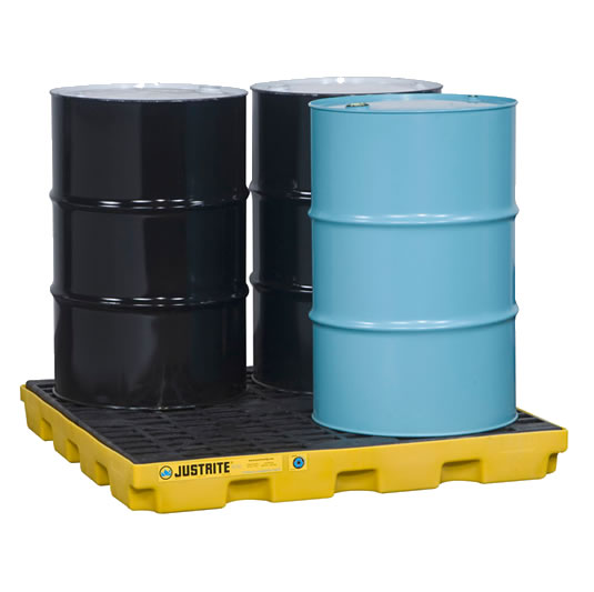 Centros de acumulación Justrite 28656 (Ex 28923) EcoPolyBlend™ para 4 tambores - Color amarillo